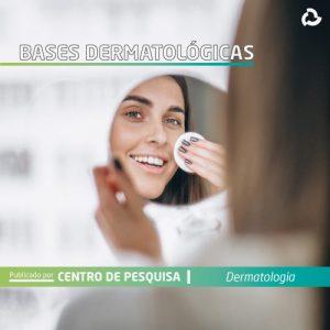 Bases dermatológicas - mulher no espelho